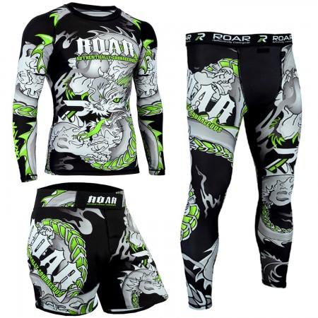 ROAR MMA Rash Guard BJJ Compression Legging Athletic Grappling Shorts Gym Wear