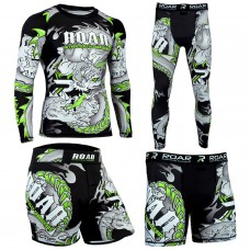 Roar MMA Rash Guard BJJ Shorts UFC Training Mens Compression Leggings Darken Green