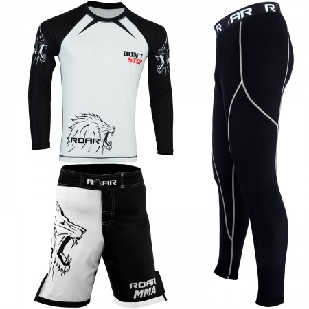 ROAR Long Sleeve MMA Rash Guard UFC Cage Fight Short BJJ Compression Legging