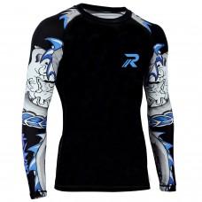 ROAR BJJ Rash Guards MMA Grappling Jiu Jitsu Training No Gi Fight Wear Shirt UFC (Darken-Blue Sleeve)