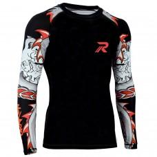 ROAR BJJ Rash Guards MMA Grappling Jiu Jitsu Training No Gi Fight Wear Shirt UFC (Darken-Red Sleeve)