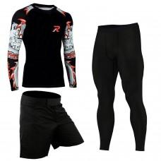ROAR MMA Rash Guard & BJJ Shorts Set Mens Fight Wear UFC Cage Fight Grappling Training