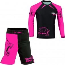 ROAR No Gi Full Ladies Set MMA Shorts & Grappling Rash Guard Female Fight Wear