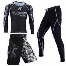 ROAR MMA Grappling Rash Guard BJJ Fight Shorts UFC Thermal Compression Gym Pents