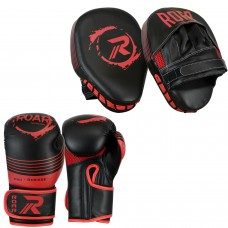 ROAR Boxing Gloves and Focus Pads Set MMA Sparring Punching Mitts