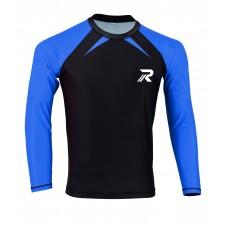 ROAR BJJ Rash Guards MMA Grappling Jiu Jitsu Training No Gi Fight Wear Shirt UFC (Blue-Black Basic)