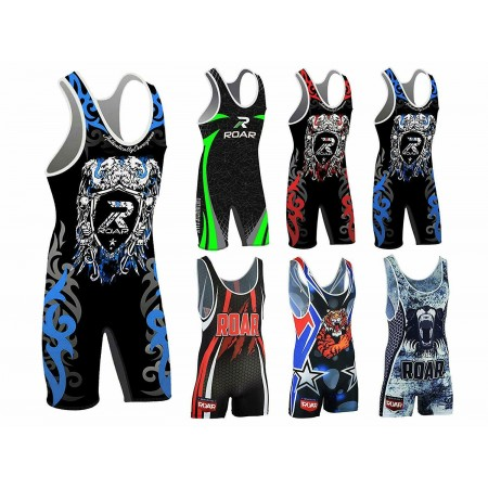 ROAR 6 Design Wrestling Singlet High Cut Jam Modified Sublimation Ringer Trikot